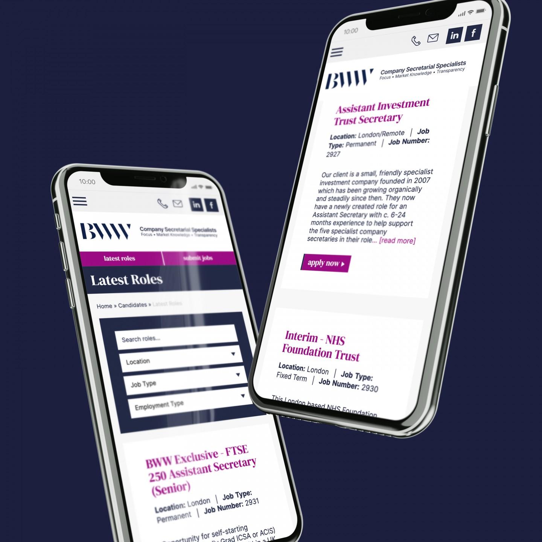 Mobile website design for BWW Recruitment