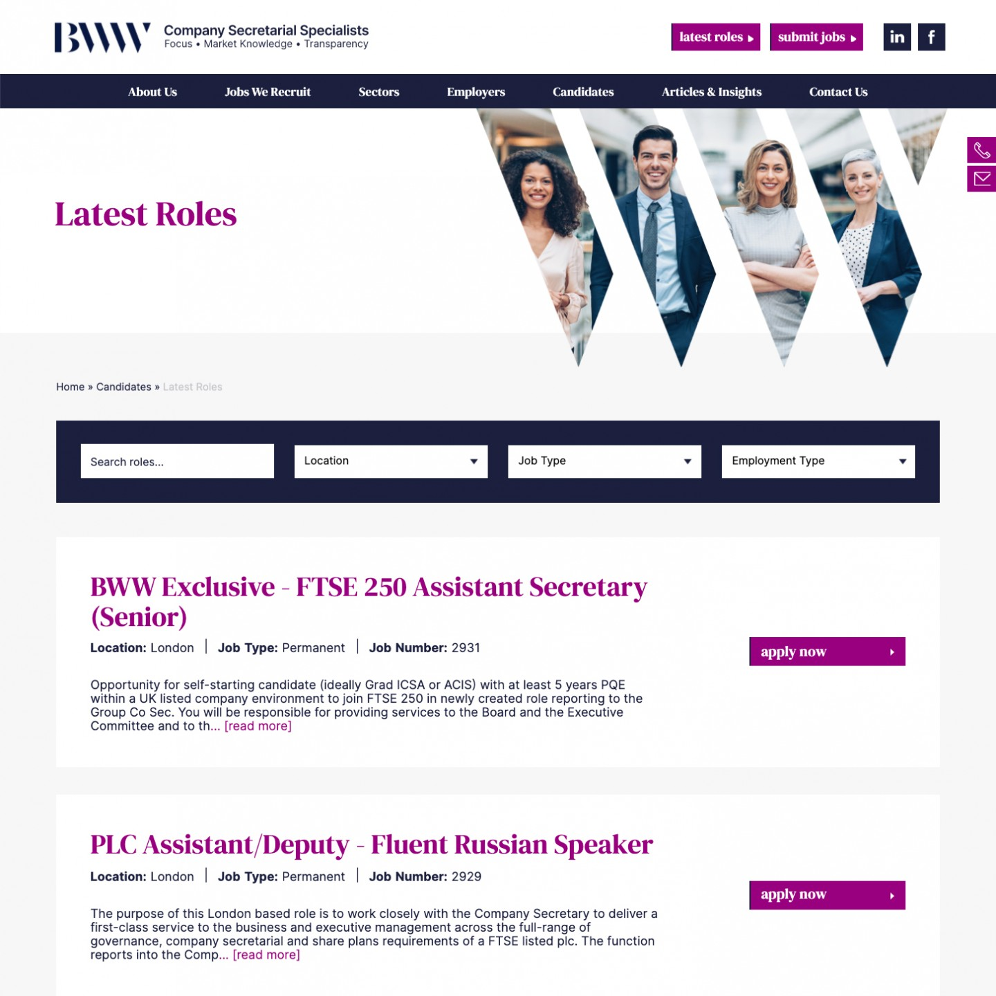 Jobs page design for BWW Recruitment
