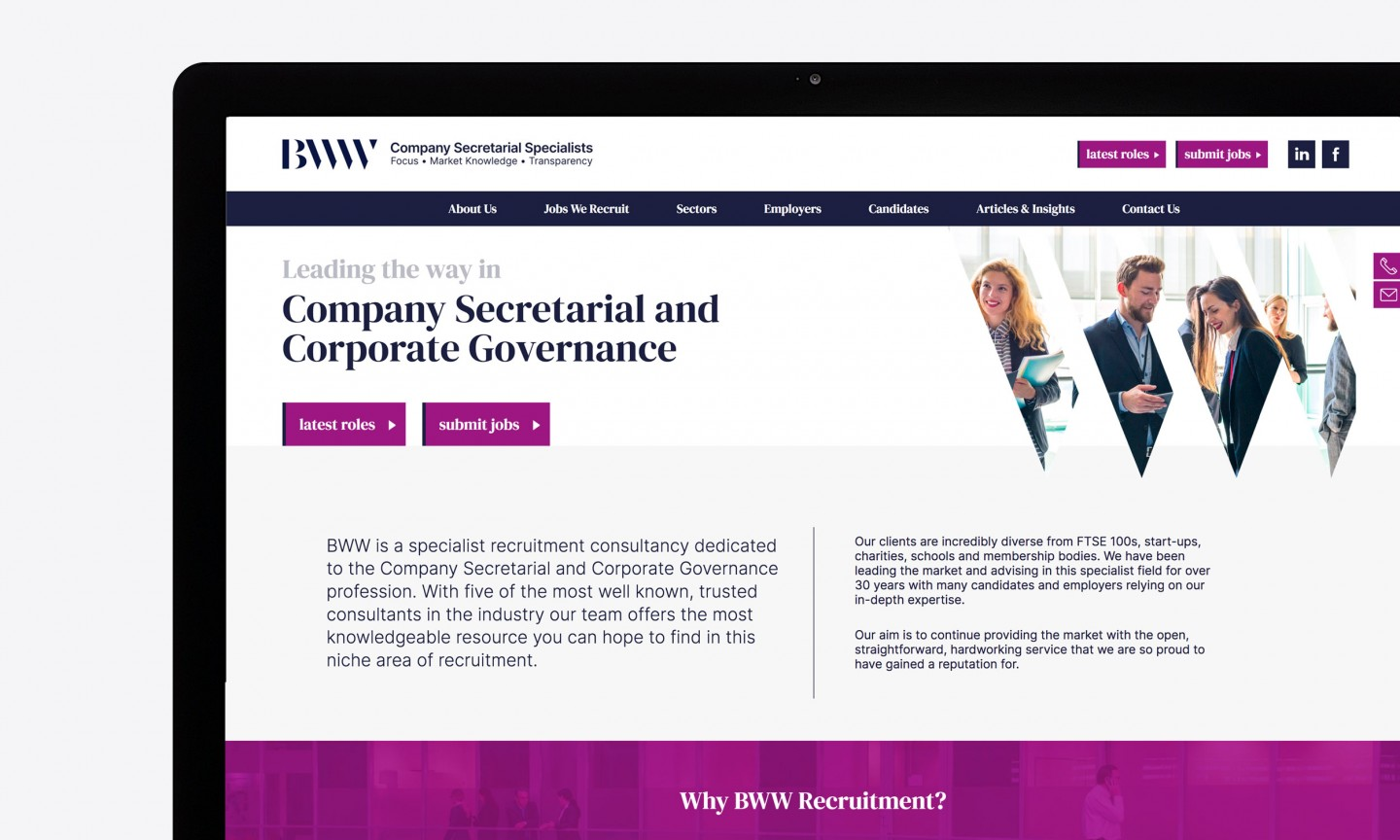 BWW Recruitment website design and build