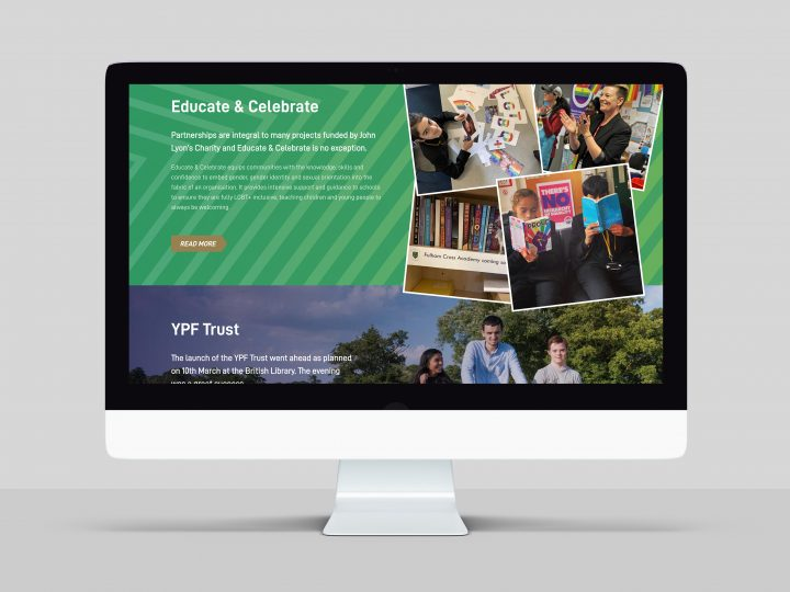 Online Report design and build for John Lyon's Charity